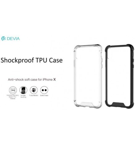 Cover Devia Shockproof in TPU Flessibile per iPhone X Clear