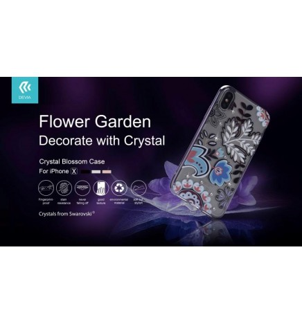 Cover Bloosom Crystals from Swarovski per iPhone X Nera