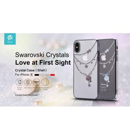 Cover Shell Crystals from Swarovski per iPhone X Rossa